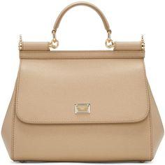 Dolce and Gabbana Tan Medium Miss Sicily Bag (1,995 CAD) ❤ liked on Polyvore featuring bags, handbags, shoulder bags, tan, pocket purse, clasp handbag, clasp purse, tan handbags and studded handbags