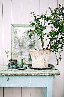 French Blue Desk - love this rustic look
