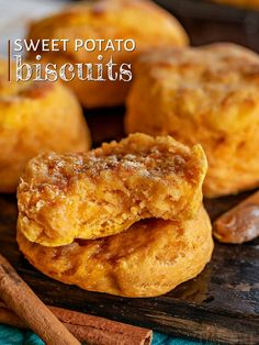 These amazing Sweet Potato Biscuits are light, fluffy and the perfect addition to your menu! Incredibly easy to make, these southern style biscuits are extra tender and delicious! // Mom On Timeout Sweet Potato Rolls, Sweet Potato Biscuits, Sweet Potato Casserole, Sweet Potato Recipes, Sweet Potato Scones Recipe, Sweet Potato Cornbread, Sweet Potato Patties, Sweet Potato Bread, Best Twice Baked Potatoes