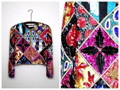 RETRO Patchwork Sequin Jacket // Fun Art Deco Beaded by braxae