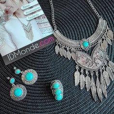 Faite le pleins de turquoises pour cet été ! #idmonde #turquoise #bague #boucles #d'oreille #plastron #collier #mode #fashion #photography