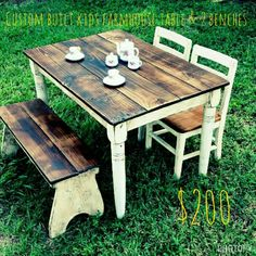 Childs Farmhouse table set Table and 2 benches $200 (Chairs and Shipping extra)