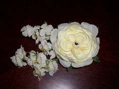 Ivory flower hair clip by AKMFloralsAndCrafts on Etsy