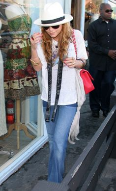 MARY KATE OLSEN BAND TEE TSHIRT SKINNY SCARF RED CHANEL BAG WHITE PANEMA SUMMER HAT SUNGLASSES FLARE PATCH HIPPIE JEANS DENIM RED NAILS OLSEN STYLE FASHION BLOG