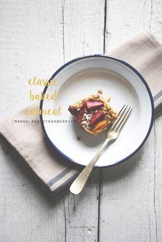 classic baked oatmeal   Claudia Ambu Photographer© Baked Oatmeal, Plates, Breakfast, Tableware, Classic, Food Photography, Baked Oats, Licence Plates, Morning Coffee