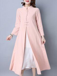 Folk Frog Color Patchwork Long Sleeve Dresses For Women