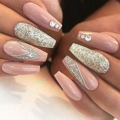 Shine like a diamond with light rose pink and silver glitter long coffin nails with glitter and rhinestone accents! #springnails #cofffinnails #nailart #nailartideas #nailshapes #accentnail #affiliate #glitter
