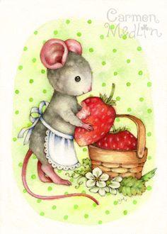 Berry Delicious - cute mouse watercolor art Carmen Medlin