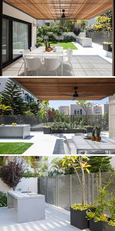 This backyard features a covered patio with a fan to help keep the space cool. A simple modern fence separates the backyard from the neighbors, with planters that will grow to create some privacy.The backyard also features a built-in outdoor kitchen, with a sink and two burners for cooking.