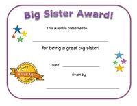Сертификат награду старшая сестра