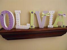 Custom Wooden Letters Nursery Kids Rooms Six by BugsNButterflies, $54.00