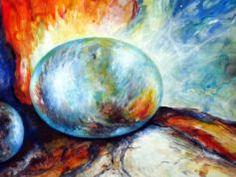 """G 4 Glas und Feuer"", Acryl auf Lana, gerahmt auf 50 x 70 cm Painting, Fire, Idea Paint, Corning Glass, Painting Art, Paintings, Painted Canvas, Drawings"