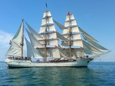 The Bark Europa in full sail during the Tall Ships Races 2011 (Waterford, Ireland to Greenock, Scotland). sailing