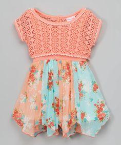Orange & Teal Lace & Floral Dress - Infant, Toddler & Girls #zulily #zulilyfinds