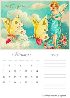 Free Downloadable February 2015 Calendar on our blog at http://www.RoseBlossomCottage.com
