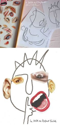 Trim out facial features and accessories from old magazines and then glue them to pre-drawn heads to create fun art face.