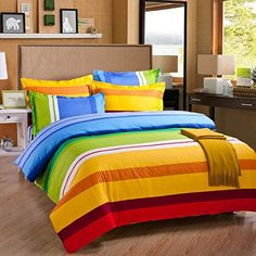 Lt Full/queen Size 100% Cotton 4-pieces Red Orange Yellow Blue Green White Striped Prints Duvet Cover Set/bed Linens/bed Sheet Sets/bedclothes/bedding Sets/bed Sets/bed Covers/5-pieces Comforter Sets Bed in a Bag (1, 5pcs with comforter) Luxury-Textile http://www.amazon.com/dp/B00R7AZAS8/ref=cm_sw_r_pi_dp_7Xnrvb0N828HD