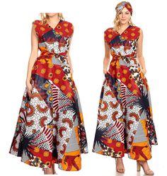 2b611728de2 Sakkas Beyaz Women s Maxi Sleeveless Wrap Long Dress with Pockets V neck  African