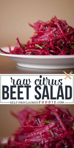 Raw Citrus Beet Salad is a gorgeous, bright, and incredibly easy to make vegan super food side dish salad recipe bursting healthy flavor. It will even have non-beet lovers asking for more. Beet Salad Recipes, Raw Food Recipes, Vegetable Recipes, Cooking Recipes, Healthy Recipes, Beet Recipes Healthy, Beetroot Recipes, Smoothie Recipes, Healthy Food