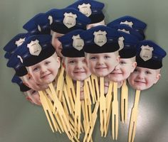 Photo cupcake toppers with POLICE HAT. set of by CakeFaceToppers, $20.00 Police Retirement Party, Retirement Parties, 4th Birthday Parties, Grad Parties, 5th Birthday, Retirement Ideas, Cop Party, Police Cakes, Police Hat