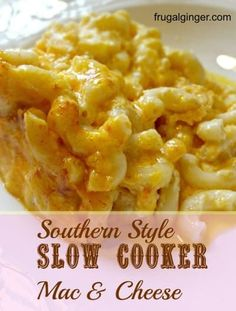Southern Style Slow Cooker Mac & Cheese - Slow Cooker - Ideas of Slow Cooker #SlowCooker -  Here in the South we love our Mac & Cheese. You really can't go to a Pot Luck or family get together and not have at least one type of mac & cheese there. It is a true Southern staple. We have a family recipe that I love but I came across a Southern style slow cooker mac & cheese recipe that I tried and fell in love with. I saw this on Trisha Yearwood's cooking show and it it so much simpler to make. Sout