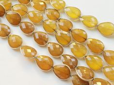 Yellow Chalcedony Pear Faceted Bezel Connector by gemsforjewels
