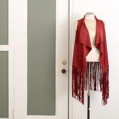 MAC&LOU Vest Cardigan Boho Jacket in Faux Suede Leather with Fringe - Burning Man Burgundy Red