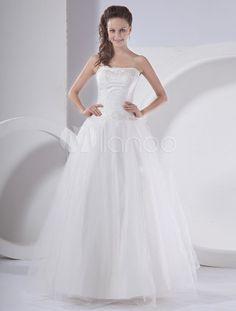 White A-line Strapless Embroidered Organza Bridal Wedding Dress - Milanoo.com