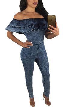 Mono Mujer Corto 2017 Short Sleeve Club slim macacao feminino Sexy summer elegant Blue Ruffle Off Shoulder Denim Jumpsuit long