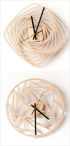 These intricately cut modern wood wall clocks feature a geometric look with clean lines and unique patterns that mix angles and smooth curves. #ModernClock #ModernHomeDecor #WallClock #WoodWallClock #WoodClock