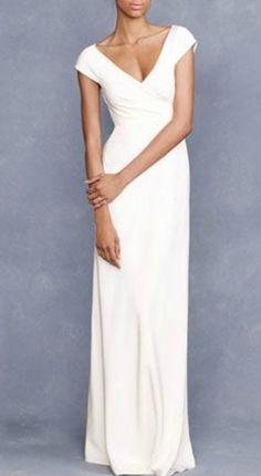 Simple Elegant Cap Sleeves Wedding Dress for Older Brides Over 40, 50, 60, 70. Elegant Second Wedding Dress Ideas.