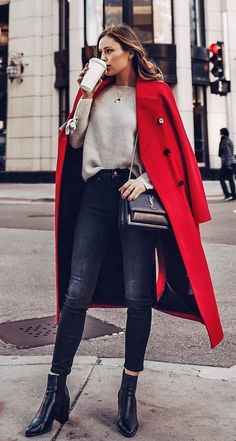 #winter #outfits red trench coat