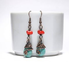 turquoise and coral earring, turquoise jewelry, copper wire wrapped jewelry handmade, copper wire wrapped earrings, wire jewelry Handmade Copper, Handmade Jewelry, Copper Wire Jewelry, Quartz Jewelry, Rose Quartz Bracelet, Copper Bracelet, Unique Gifts For Women, Turquoise Earrings, Boho Earrings