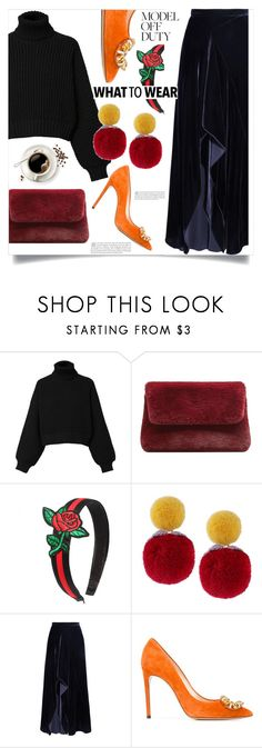 """""""Sweater Plus Velvet Skirt"""" by yepie ❤ liked on Polyvore featuring Diesel, MANGO, Roland Mouret, Casadei, chic, autumn, velvet and pompom"""