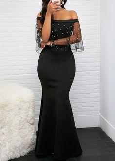 6e8ca866463d Rosewe Women Dress Black Off The Shoulder Evening Gown Maxi Sheath Off the  Shoulder Mesh Panel Sheath Dress