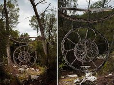 Artist spends a year alone in the forest creating surreal sculptures using all organic materials.
