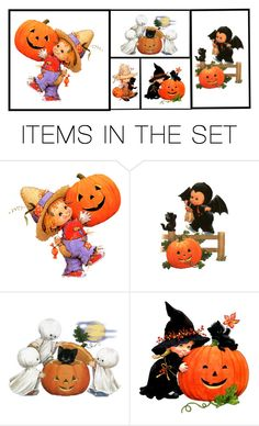 """""""Costumes and Pumpkins"""" by yellowcanarytweety ❤ liked on Polyvore featuring art"""