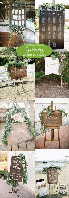 Rustic greenery wedding signs / http://www.deerpearlflowers.com/greenery-wedding-decor-ideas/3/