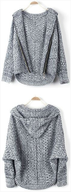 Women's Loose Batwing Sleeve Zip Front Heathered Cardigan