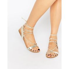 Faith Jermam Gold Ghillie Tie Up Gladiator Flat Sandals ($41) ❤ liked on Polyvore featuring shoes, sandals, gold, metallic gold sandals, gladiator sandals, gold sandals, gold flat shoes and tie gladiator sandals