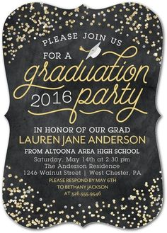 Modern graduation card design mustard gray open house invite honor all their achievements with a sparkling graduation party invitation stopboris Choice Image