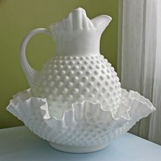 Fenton Milk Glass Large Pitcher and Bowl.