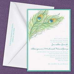 Peacock Charm Layered Invitation from the Pockets collection by Carlson Craft. Peacock feather designs are fun, colorful and whimsical. Lagoon blue and teal ink stand out on the white shimmer paper. This invitation is perfect for the unique bride! See more at frostedpink.carlsoncraft.com.
