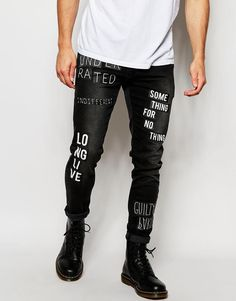 Super skinny jeans by ASOS Super stretch denim Zip fly Text print design Super  skinny fit - cut closest to the body Machine wash Cotton, Elastane Our  model ... fb6a467e03d7