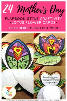 Mothers Day Flapbook-Style Craftivity Lotus Flower Card by Smart as a Fox Designs Warm And Cool Colors, Fox Design, Holiday Activities, Elementary Education, Card Kit, You're Awesome, Color Theory, Flower Cards, Lotus Flower