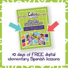 Digital Elementary Spanish Lessons: FREE PDF for School Closures - Calico Spanish Elementary Spanish, Spanish Classroom, Teaching Spanish, Elementary Schools, Spanish Activities, Spanish Games, Free Spanish Lessons, School Closures, Online Lessons