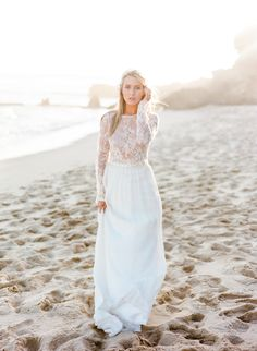 Inspired by Morgan Stewart's two piece lace wedding dress: http://www.stylemepretty.com/2016/06/20/steal-the-look-morgan-stewarts-glam-all-white-wedding/