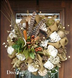 Idaho Potato Burlap Wreath with Animal Print Ribbon by decoglitz