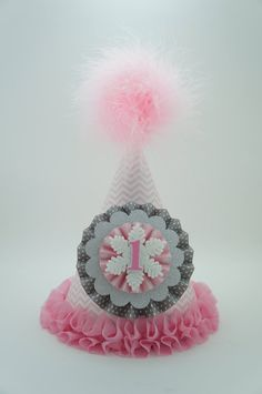 Girls Pink Winter ONEderland Party Hat, Gray & Pink Chevron Party Hat, Girls 1st Birthday Party Hat on Etsy, $16.50