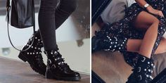 Zara biker boots are the new trend. Pearl detailing adds a little chic to the rock look
